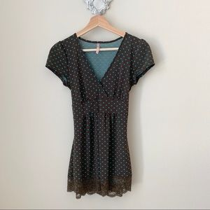 Rue21 brown blouse with blue polka dots